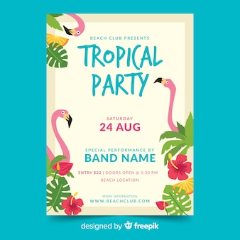 Flat tropical summer party flyer