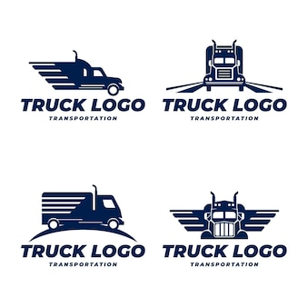 Flat truck logo template collection