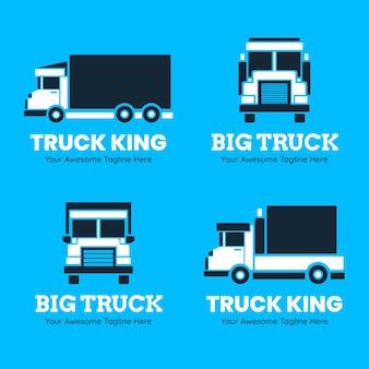 Коллекция шаблонов логотипа плоского грузовика