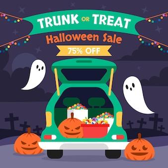 Плоский багажник или иллюстрация продажи угощения