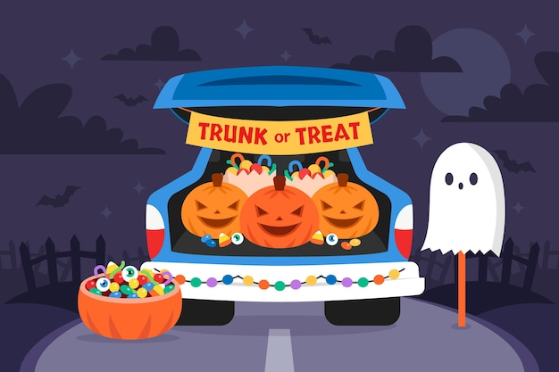 Flat trunk or treat background