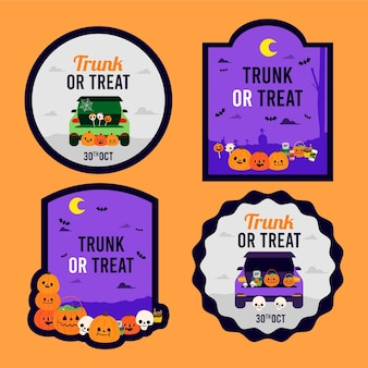 Flat trunk or treat badges collection