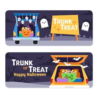 Flat trunk or treat horizontal banners set