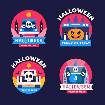 Flat trunk or treat labels collection