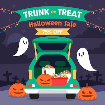 Flat trunk or treat sale illustration