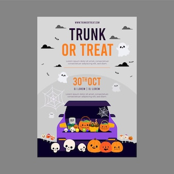 Flat trunk or treat vertical poster template