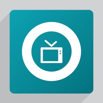 Flat tv icon, white on green background