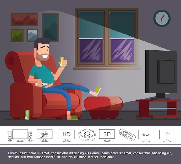 Плоские телевизионные новости с человеком, смотрящим шоу по телевизору дома, и иллюстрация цифровых современных и линейных иконок