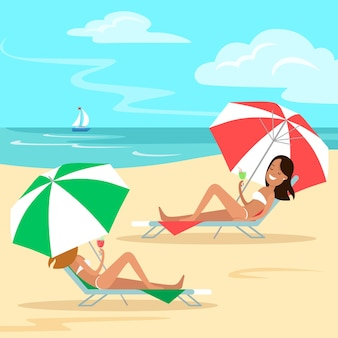 Flat two girls lying on a deckchair under an umbrella and drinking cocktails on sea beach nature