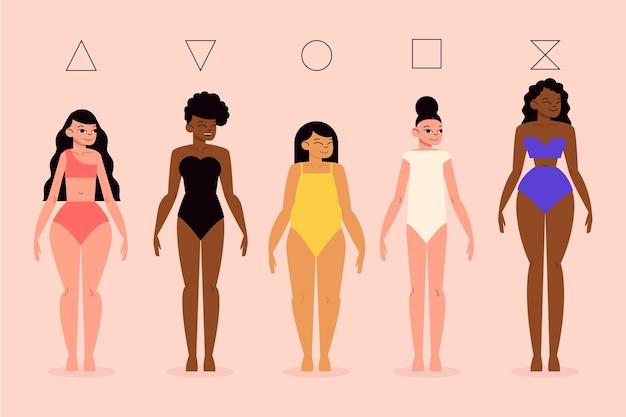 Set di tipi piatti di forme del corpo femminile
