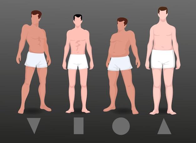 Pack di tipi piatti di forme del corpo maschile