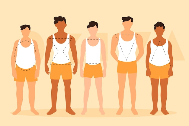 Flat types of male body shapes pack