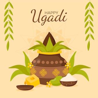 Illustrazione di festività piatta ugadi