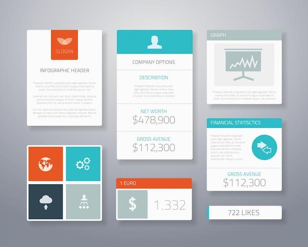 Flat ui business elements vector template