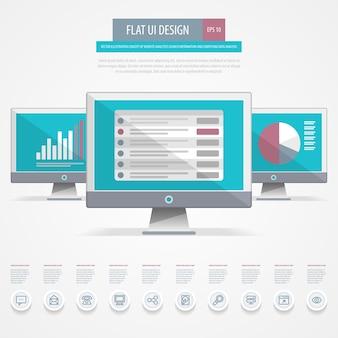 Плоский дизайн пользовательского интерфейса. концепция веб-аналитики, поисковой информации и компьютерного анализа данных.