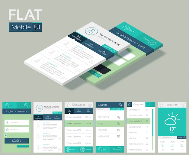 Flat ui design concept with different screens web buttons and elements for mobile application
