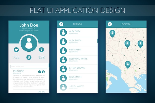 Flat ui design concept with map contact list and web elements for mobile application