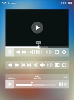 ぼやけた背景に、タブレットpcまたはスマートフォン用のフラットuiデザインメディアプレーヤーアプリケーションテンプレート