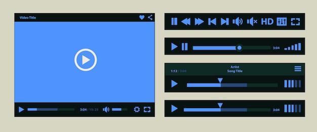 タブレットpcまたはスマートフォン用のフラットuiデザインメディアプレーヤーアプリケーションテンプレート