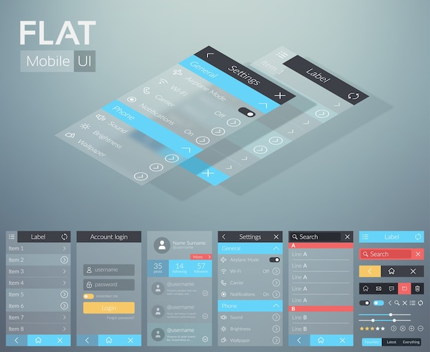 Flat ui mobile menu design concept with different screens buttons and web elements