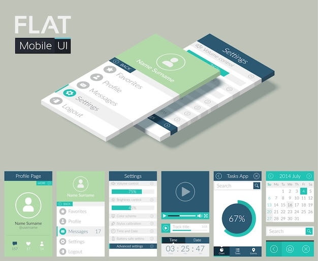 Flat ui template with screens icons web buttons and elements for mobile design