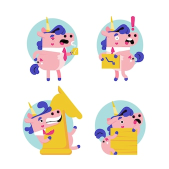 Flat ukko the unicorn sticker collection