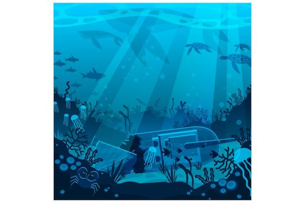 Flat underwater illustration