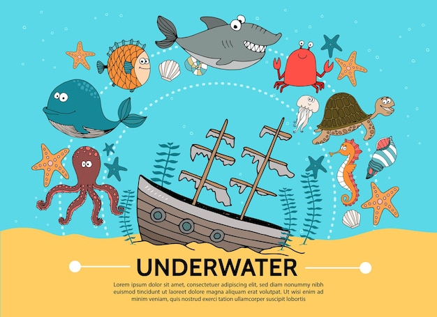 Flat underwater world concept with sunken ship whale octopus fish shark crab turtle starfish shell jellyfish