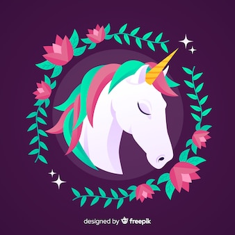Flat unicorn background