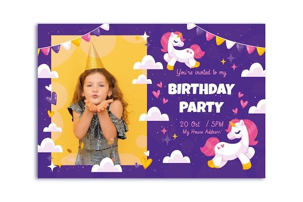 사진이있는 평면 유니콘 생일 초대장 템플릿