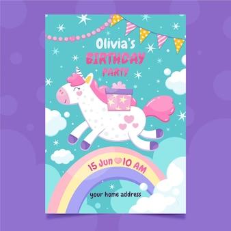 Плоский шаблон приглашения на день рождения единорога