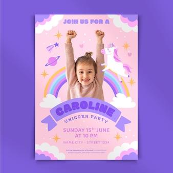 Flat unicorn birthday invitation with photo