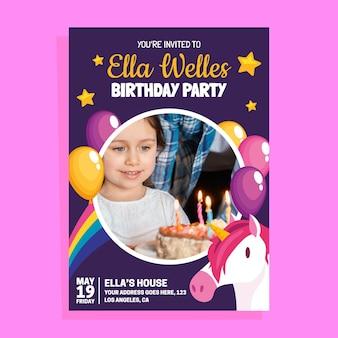 Invito di compleanno unicorno piatto con foto