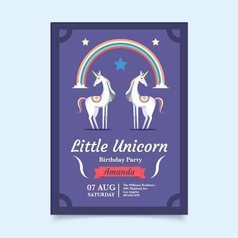 Flat unicorn birthday invitation