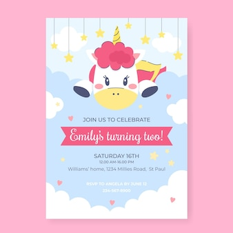 Invito di compleanno unicorno piatto