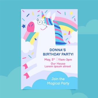 Плоское приглашение на день рождения единорога
