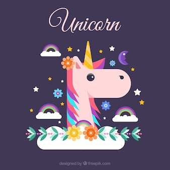 Flat unicorn face and rainbows
