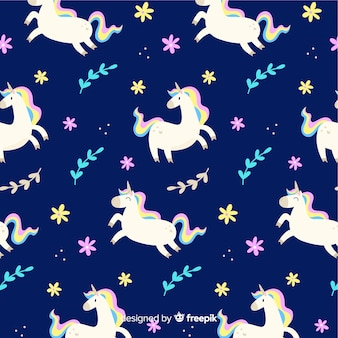 Flat unicorn floating with leaves pattern