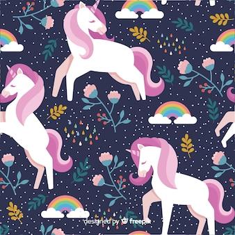 Flat unicorn pattern