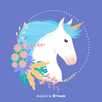 Flat unicorn with leaves and flowers