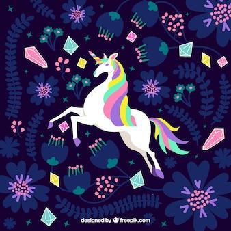 Flat unicorn with psicodelic colors