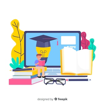 Flat university concept background
