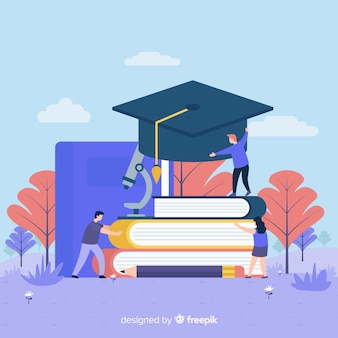 Flat university concept with education elements