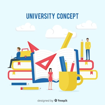 Flat university concept with school elements