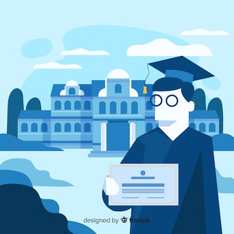 Flat university graduated background
