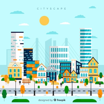 Flat urban landscape with office buildings Free Vector