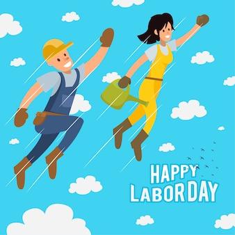 Flat us labor day illustration