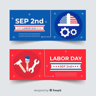 Flat usa labor day banners