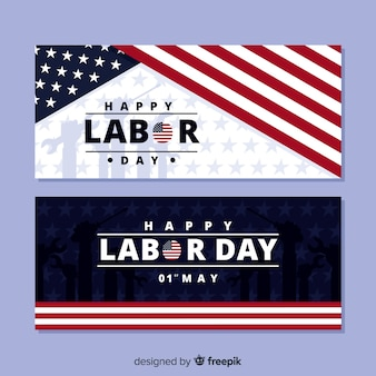 Flat usa labor day banners