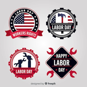 Flat usa labor day label collection